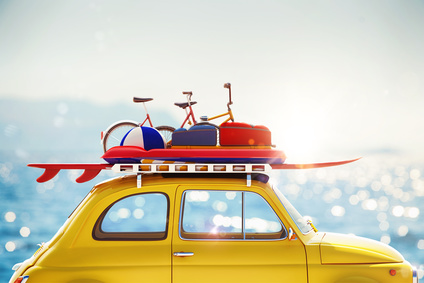 3D rendering car with luggage on roof