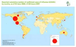 H1N1 Statistik weltweit 05-06-09